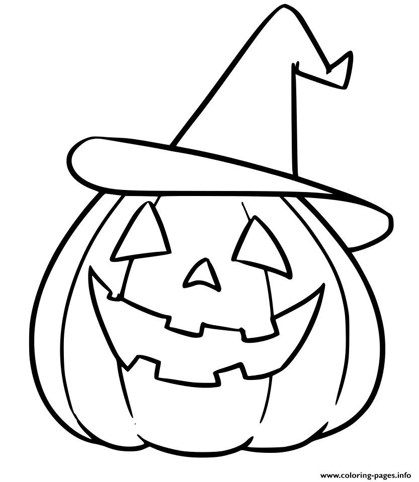 Print Pumpkin With Hat Halloween Coloring Pages Halloween Coloring Halloween Coloring Pages Halloween Coloring Book