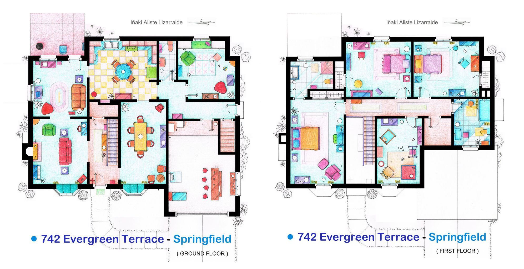 The Simpson S House Floor Plans Floor Plan Drawing The Simpsons