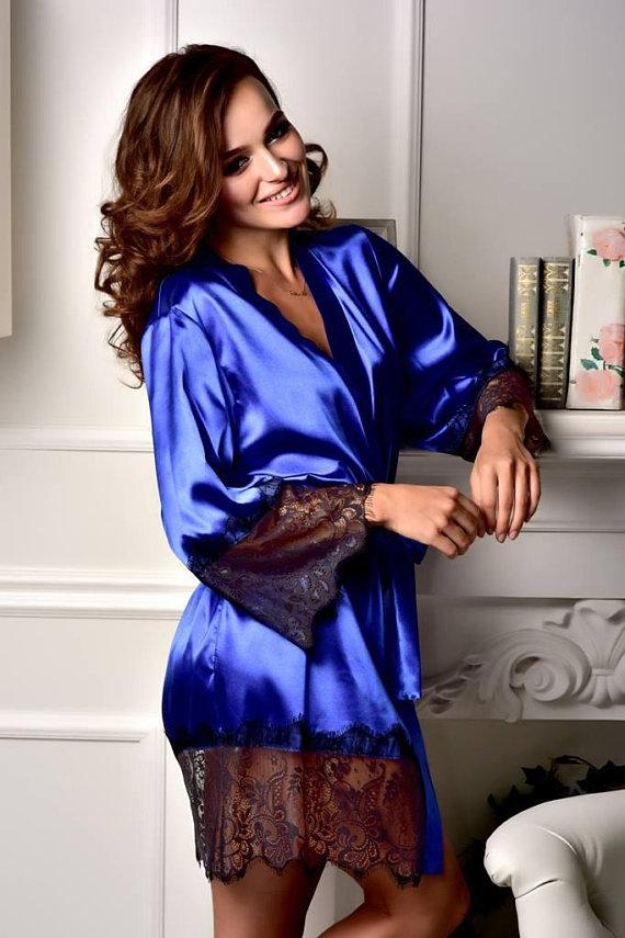 05ac849974 Royal blue lace robe Bride robe Bridal kimono Satin robe Kimono robe  Wedding robes Bridesmaid robes