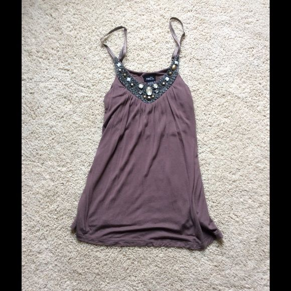 Brown Top with Jewels - Women's Medium Brown Top with Gorgeous Jewels on the neckline. Purchased from Rue 21 - Worn Twice - Excellent Condition.  If you would like additional photos or have any questions, please ask!  Rue 21 Tops Tank Tops