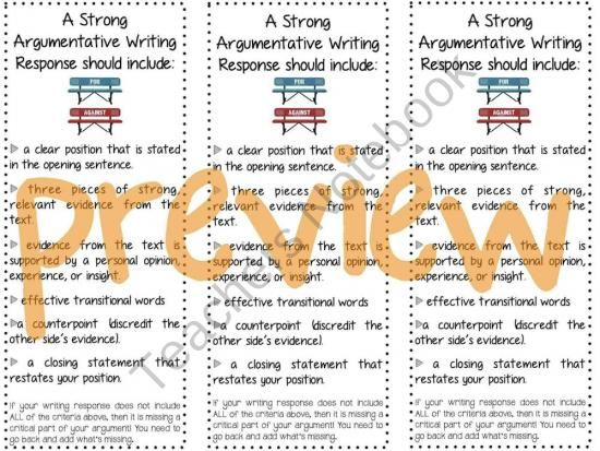 Argumentative Writing Response Bookmarks Product From TheCreative