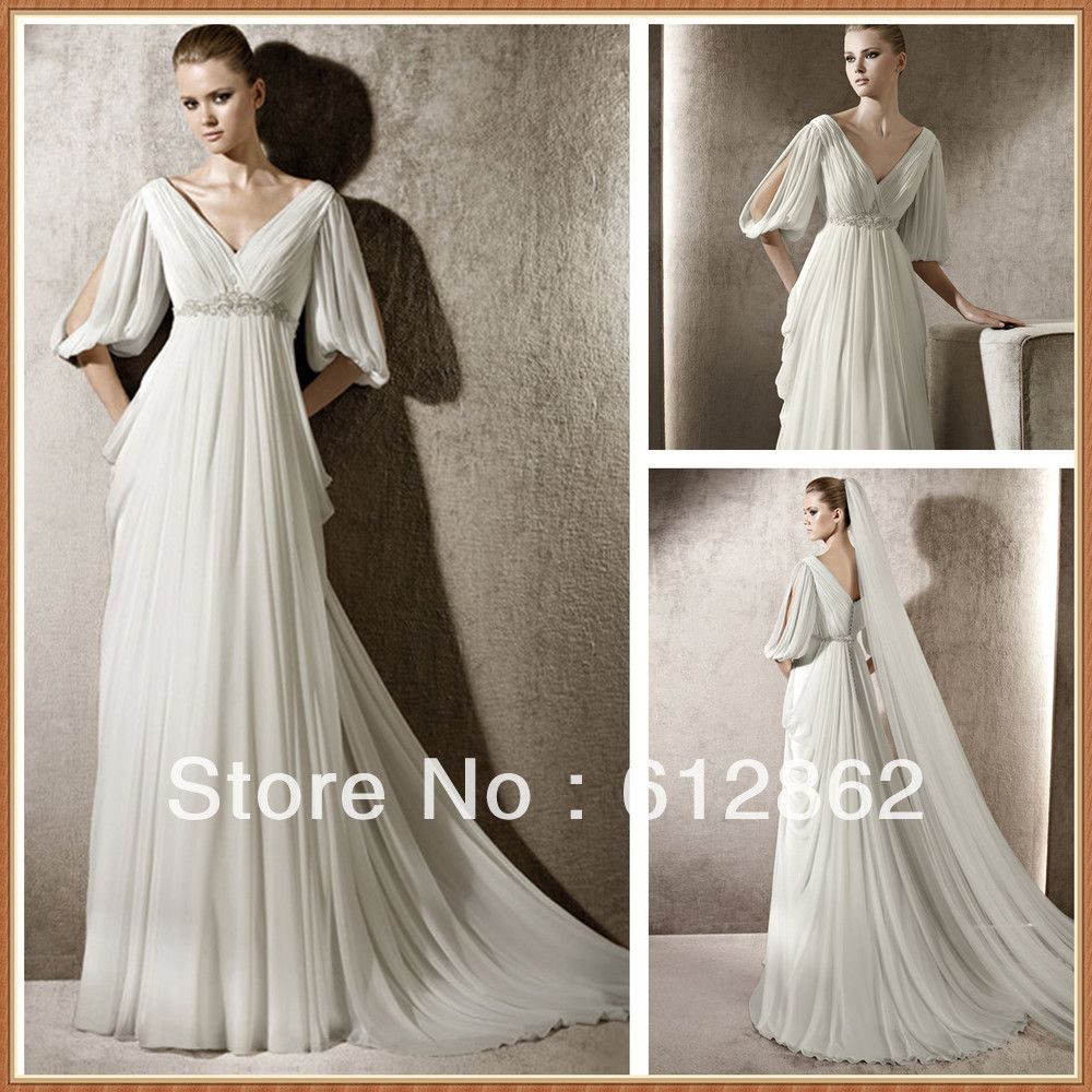Elegant v neck open half sleeves ruffled chiffon a line for Grecian chiffon wedding dress