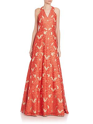 David Meister Embroidered Ball Gown - Red - Size 2