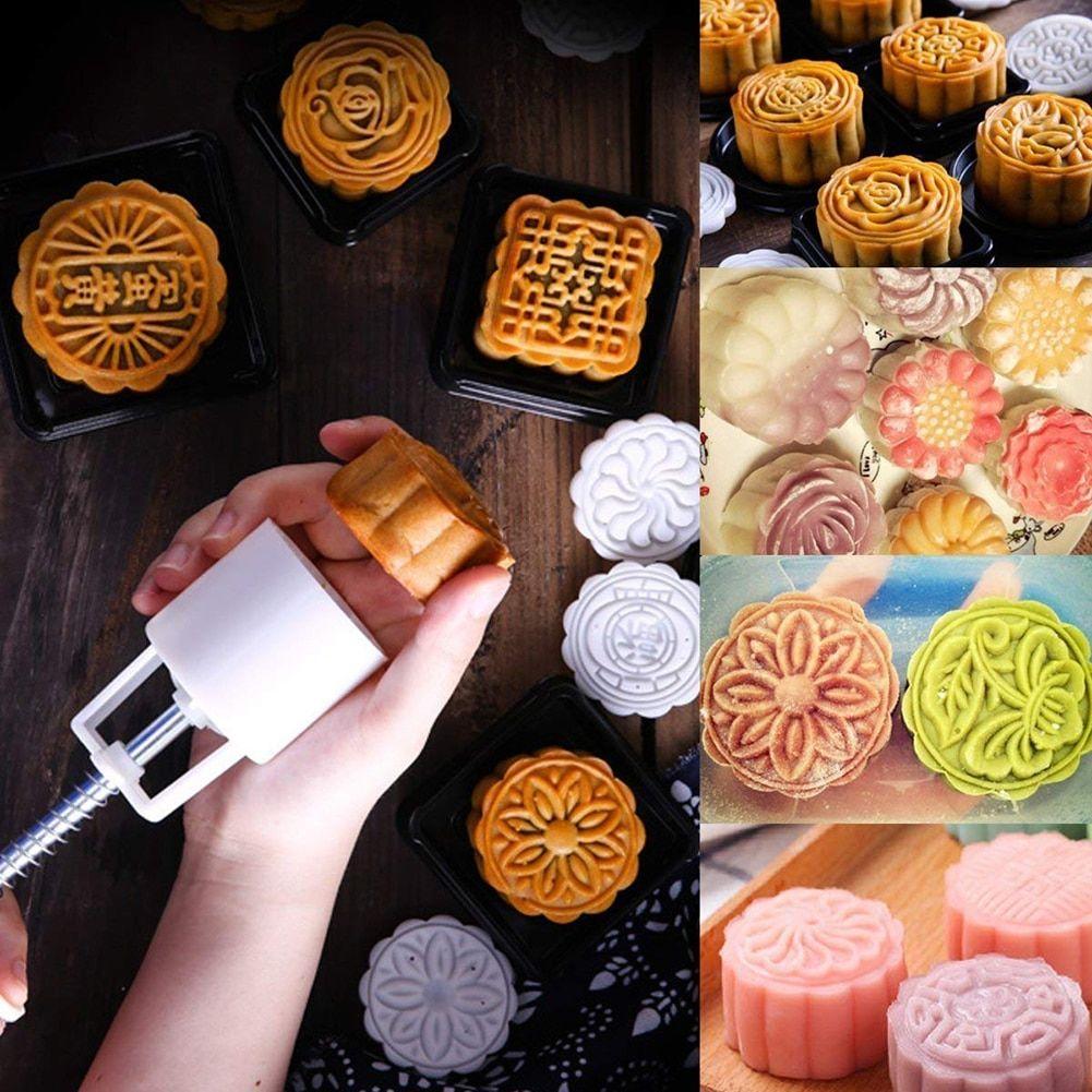 1 Barrel10 Stamps Set 3D Flowers Mooncake Mold Hand Pressure Fondant Moon Cake Mould DIY Baking Accessories Cake Cutter Mold $5.1 - Discount 15% #mooncake