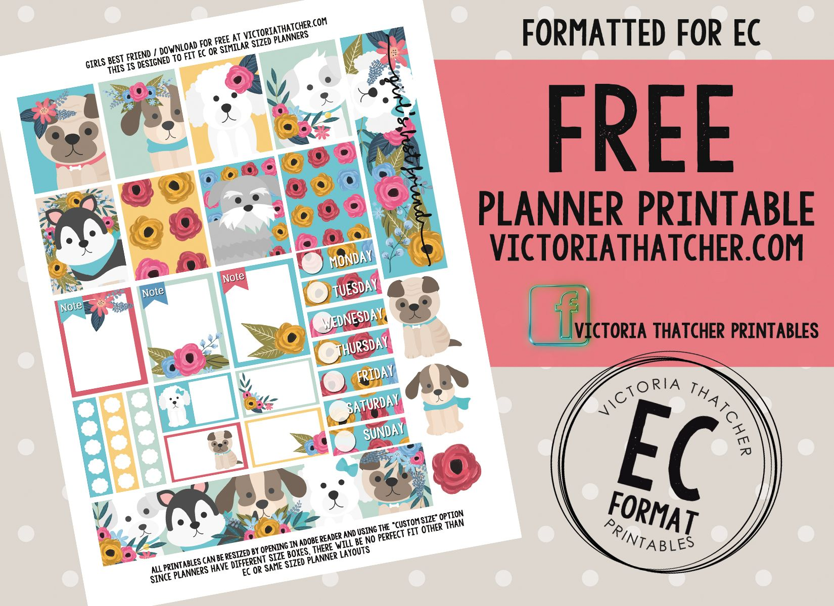 Free Girl's Best Friend Planner Stickers from Victoria