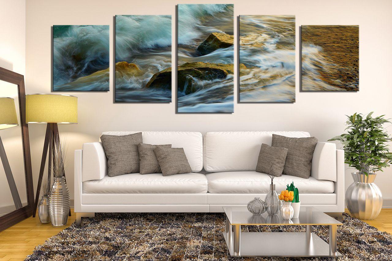 5 Piece Canvas Photography Living Room Canvas Art Prints Green Sea Artwork Rock Multi Panel Art Living Room Canvas Living Room Pictures Wall Canvas #wall #canvases #for #living #room