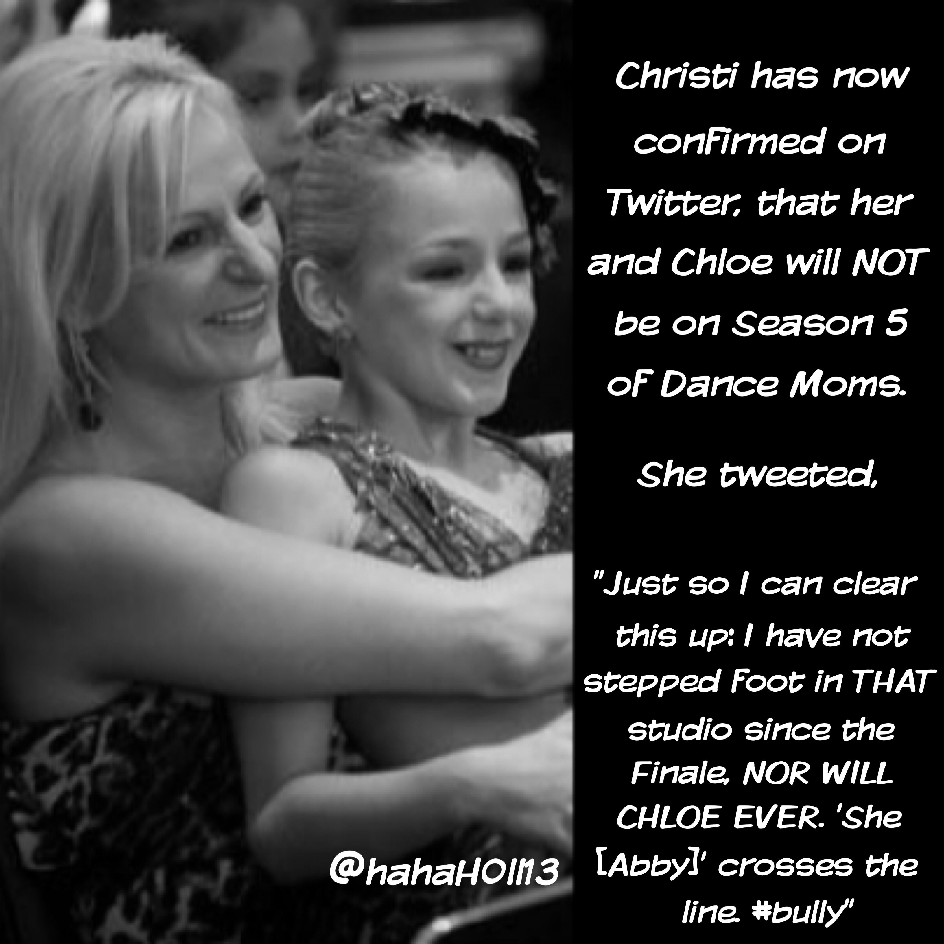 I am devastated that she will not be on it because I loved Chloe and Christi was hilarious and lovely but I am glad that Chloe can be a happy dancer and word is that she is looking/may have found a new studio. Good on her.
