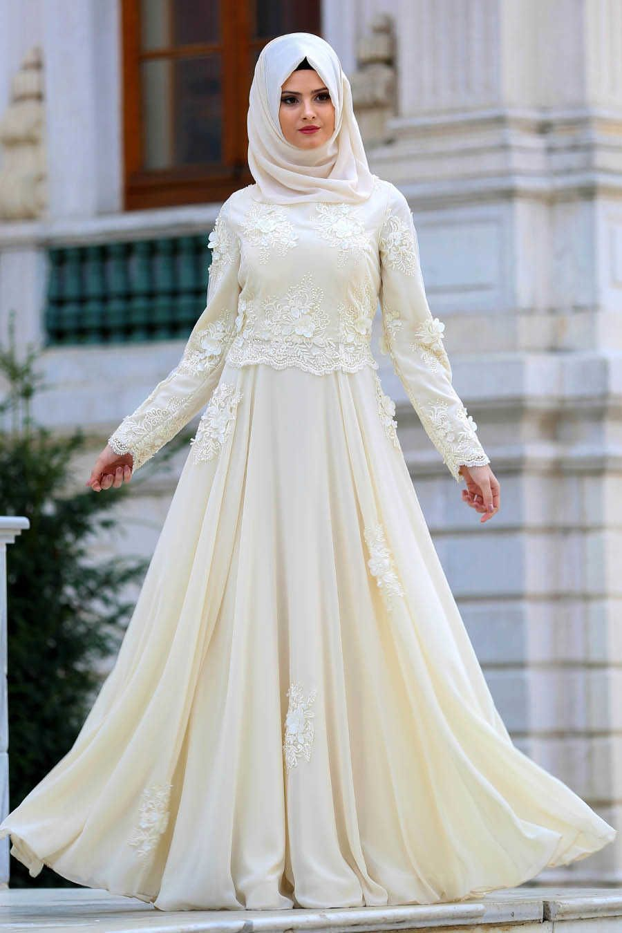 Ecru wedding dress  NEVA STYLE  ECRU HIJAB EVENING DRESS E  EVENING DRESS