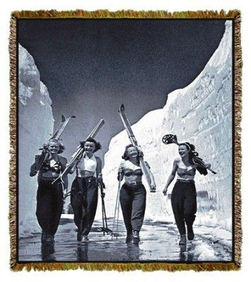 Girls Gone Skiing Tapestry Vintage Ski Vintage Ski Posters Ski Girl