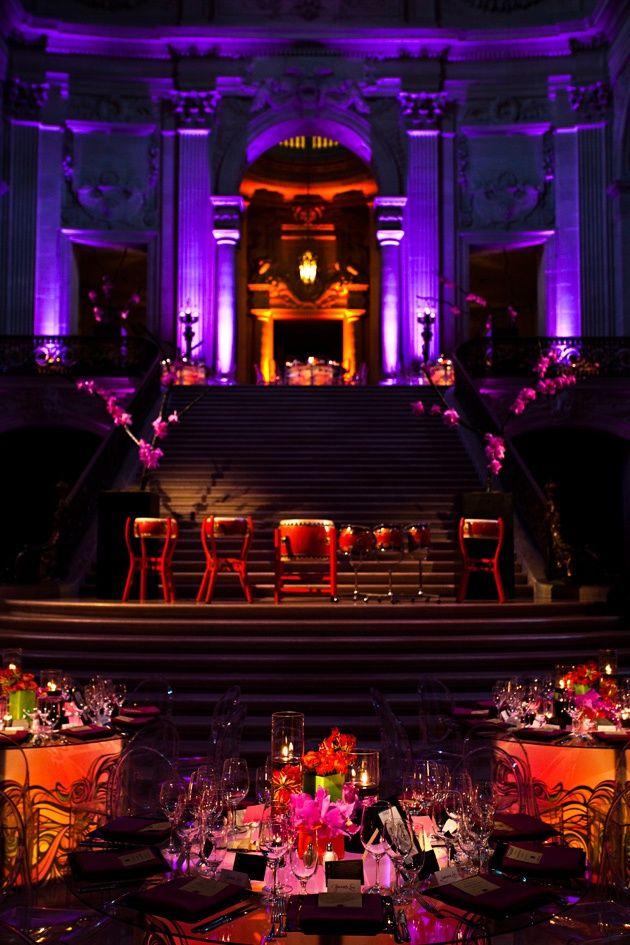diy outdoor wedding lighting ideas%0A Phenomenal setup at this  purple  uplighting  wedding  reception   diy