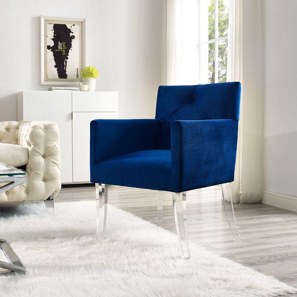 Lafayette Navy Velvet Acrylic Chair Living Room