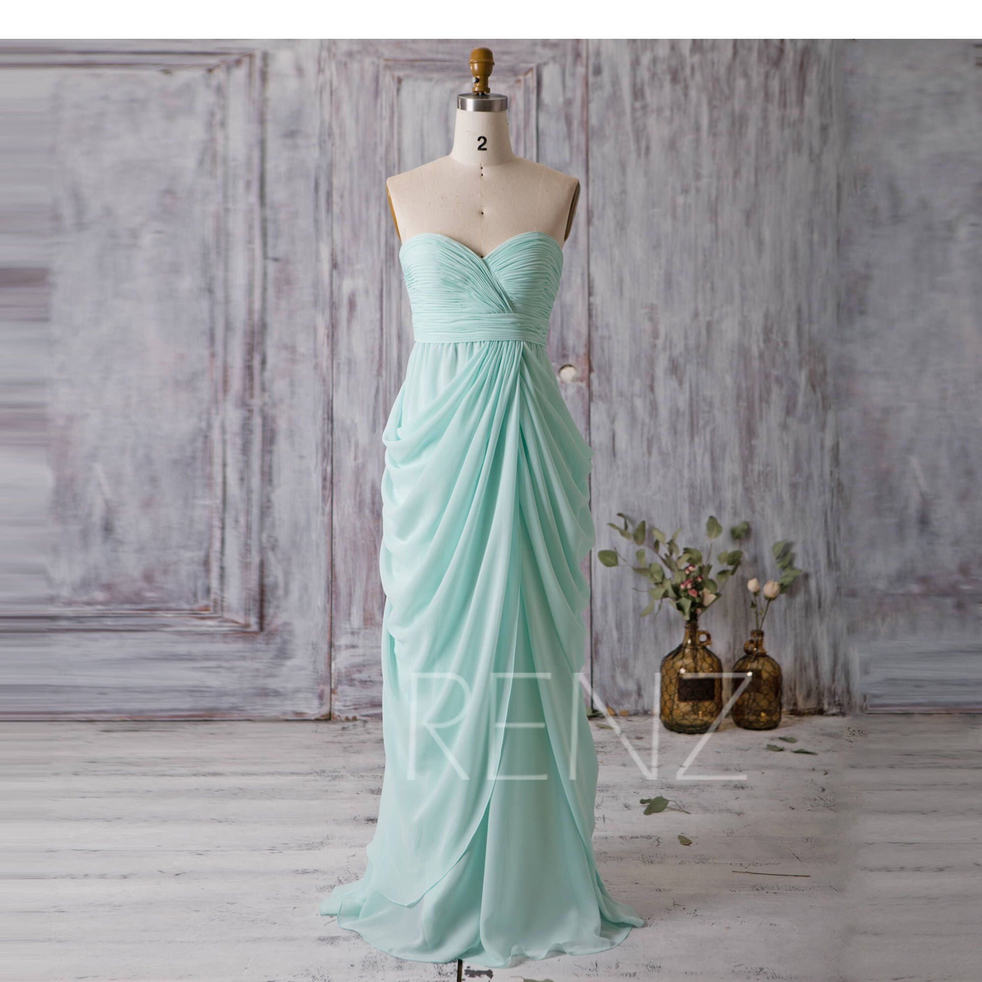 Mint blue bridesmaid dressdraped long wedding dresssweetheart maxi