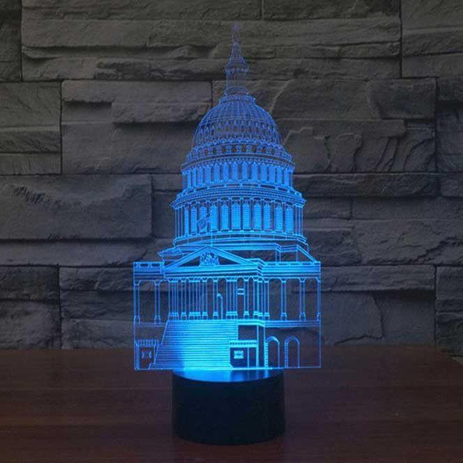 Us Capitol Building 3d Illusion Lamp 3d Led Lamp 3d Illusion Lamp Glow Lamp