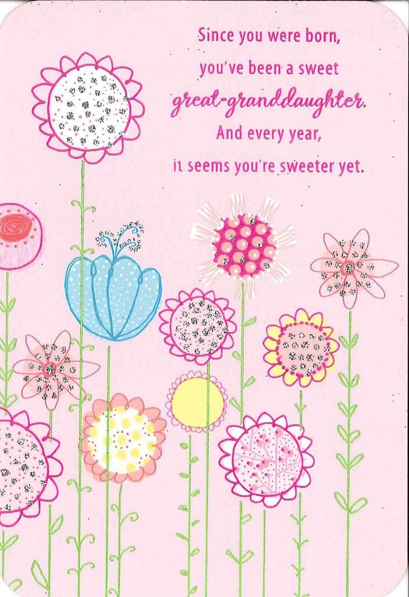 For A Sweet Great Granddaughter Birthday Card Greeting Cards Hallmark Granddaughter Birthday Happy Birthday Cards Free Birthday Card