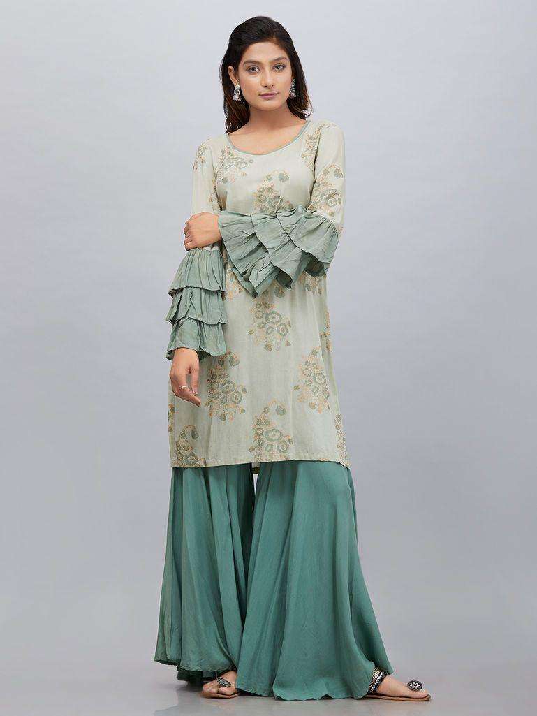 b70d9728fc Green Hand Block Printed Modal Silk Kurta with Sharara - Set of 2 ...
