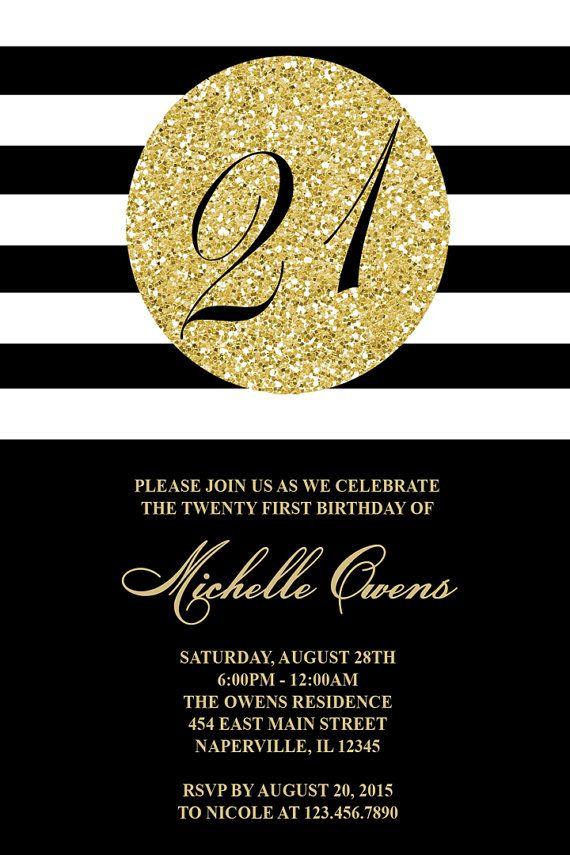 Gold 21st Birthday Party Invitation, Black and White Stripes, 21st ...