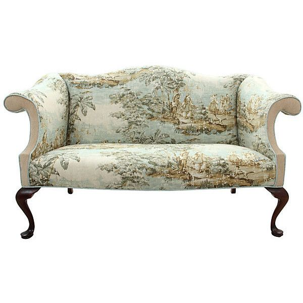 pre owned queen anne style camel back settee 2 475 via polyvore rh pinterest com
