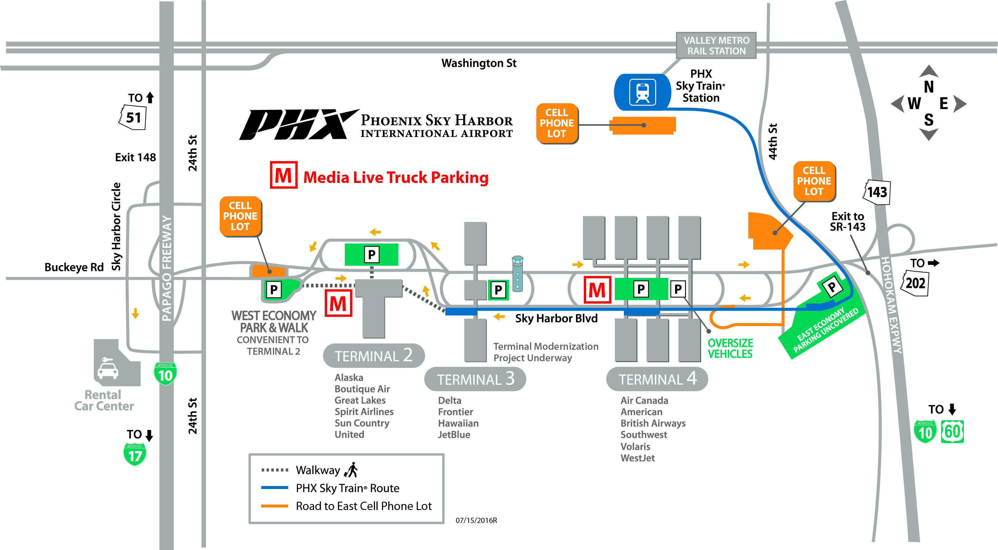 phoenix sky train map Phx Phoenix Sky Harbor International Airport Airport Map phoenix sky train map