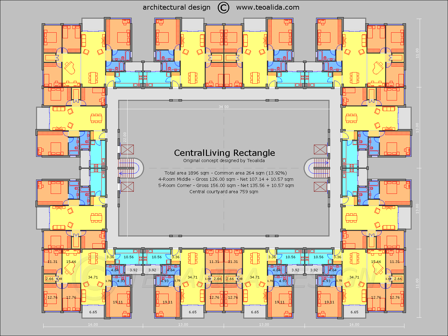 Centralliving rectangle floor plan conference centre for Apartment building layout