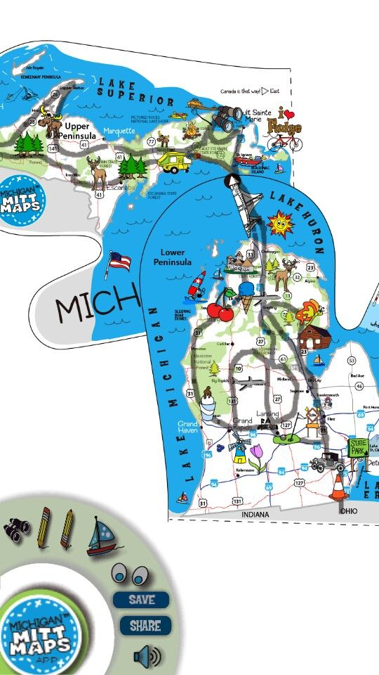 Road Trip with Michigan Mitt Maps App Android Apple