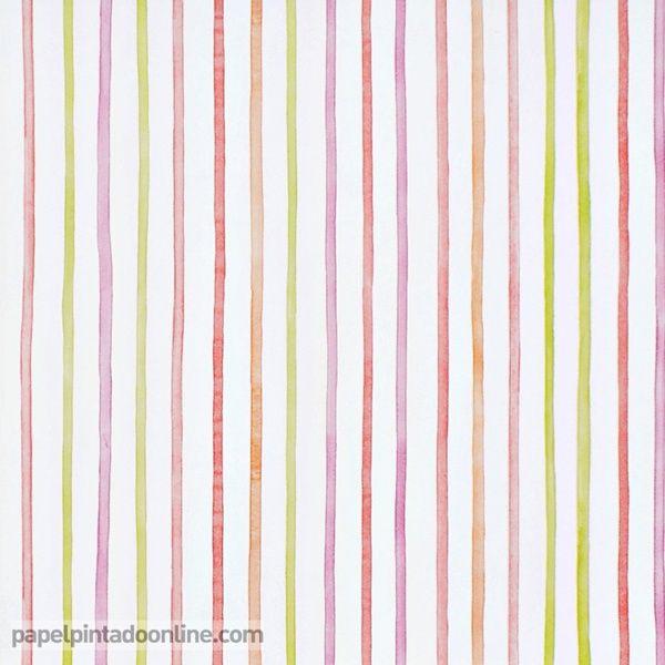 papel pintado infantil summer camp 7276_01_05 de rayas verticales de igual grosor con trazo irregular - Papel Pintado Rayas Verticales