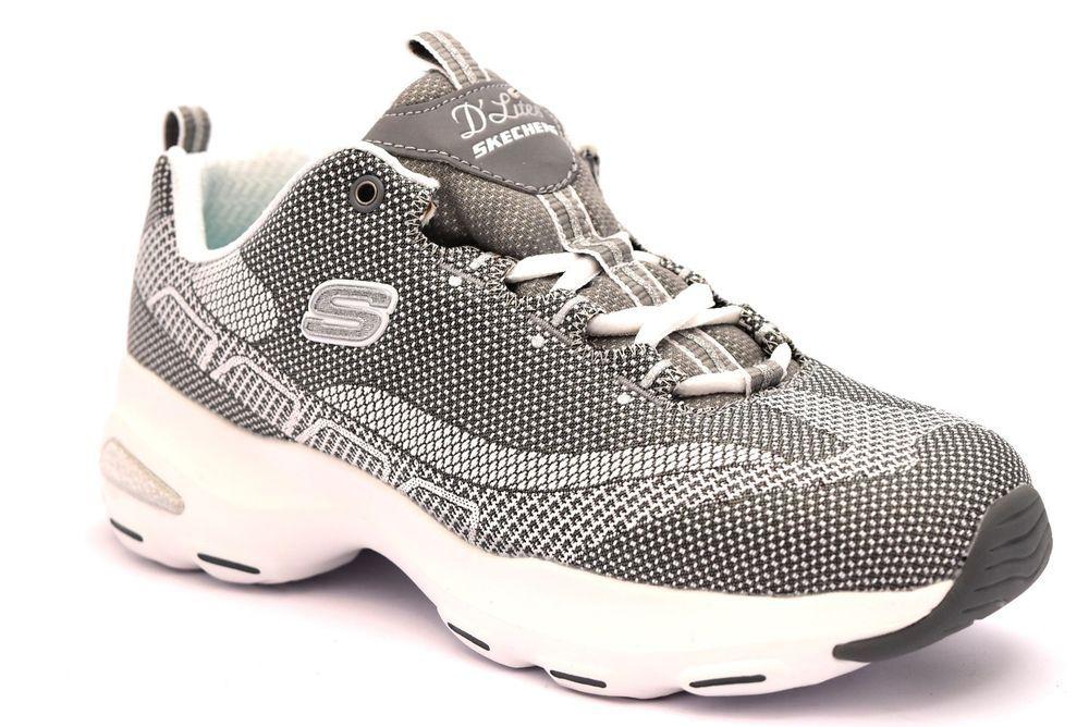 SKECHERS 12283 GYW ARGENTO BIANCO Donna Sneakers Memory Foam