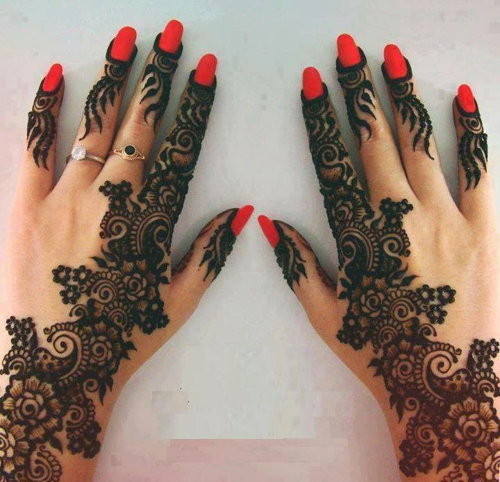 Pretty And Intricate Mehendi Design Red Nail Polish Makes It Pop