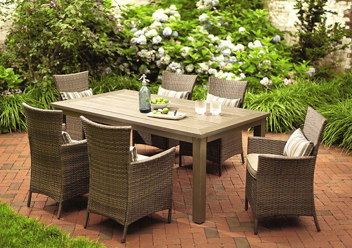 hampton bay tacana 7 piece dining set spring patio dining rh pinterest com
