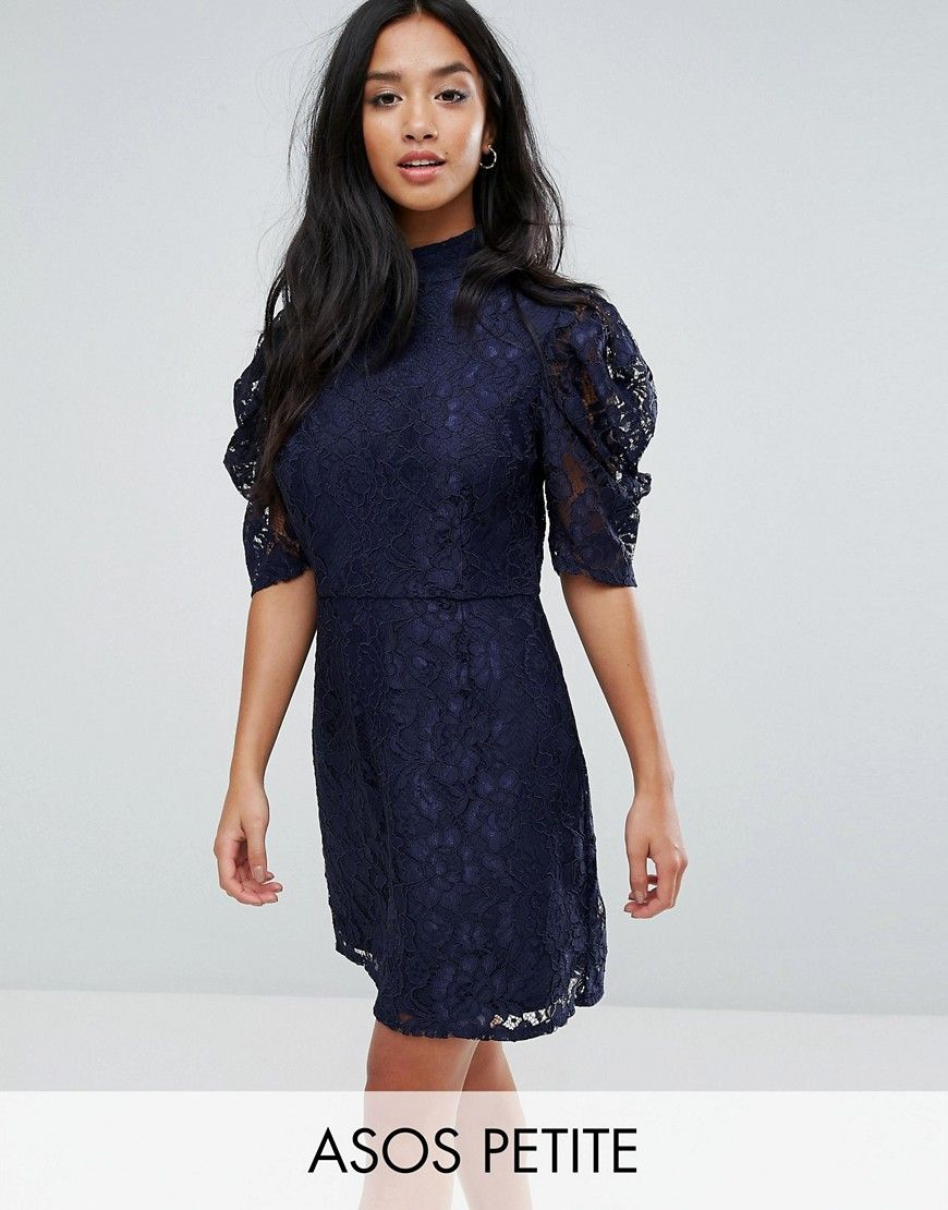 Lace dress navy blue  Fashion Union Petite High Neck A Line Dress In Lace  Navy  Products