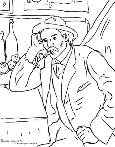 Man With A Pipe By Paul Cezanne Coloring Page From Famous Paintings