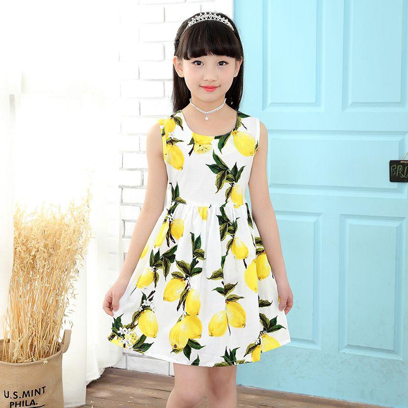 Click To Buy 2017 Summer Children S Clothing 4 13 Years Old Print Lemon Girl Dress Slim Bow Girls Dresses For Pa Girls Dresses Dresses Cheap Girl Dresses