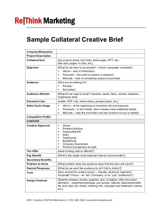 2005 courtesy of rethink marketing llc 972 489 4820 for Ogilvy creative brief template