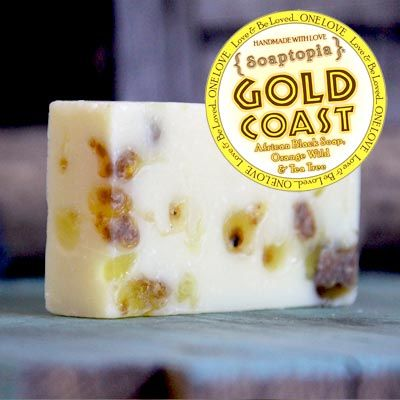 Gold Coast soap with African black soap, orange wild and tea tree. A contest winner!