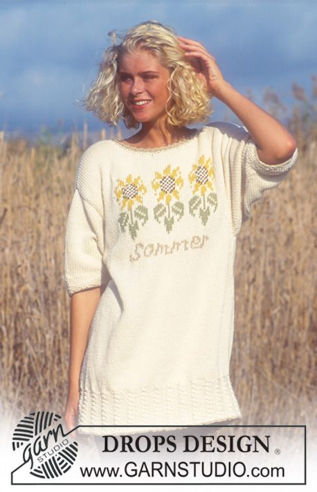 Free pattern: Drops short sleeve sweater with sunflower pattern in ...