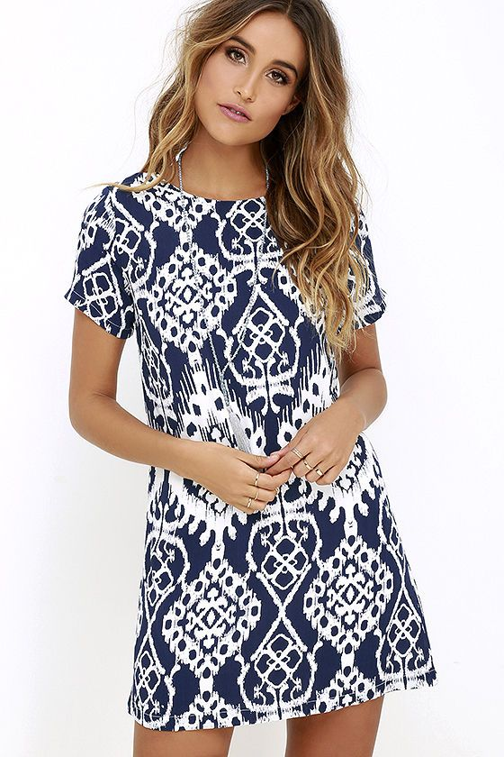 Lucy Love Charlotte Navy Blue Print Shift Dress At Lulus