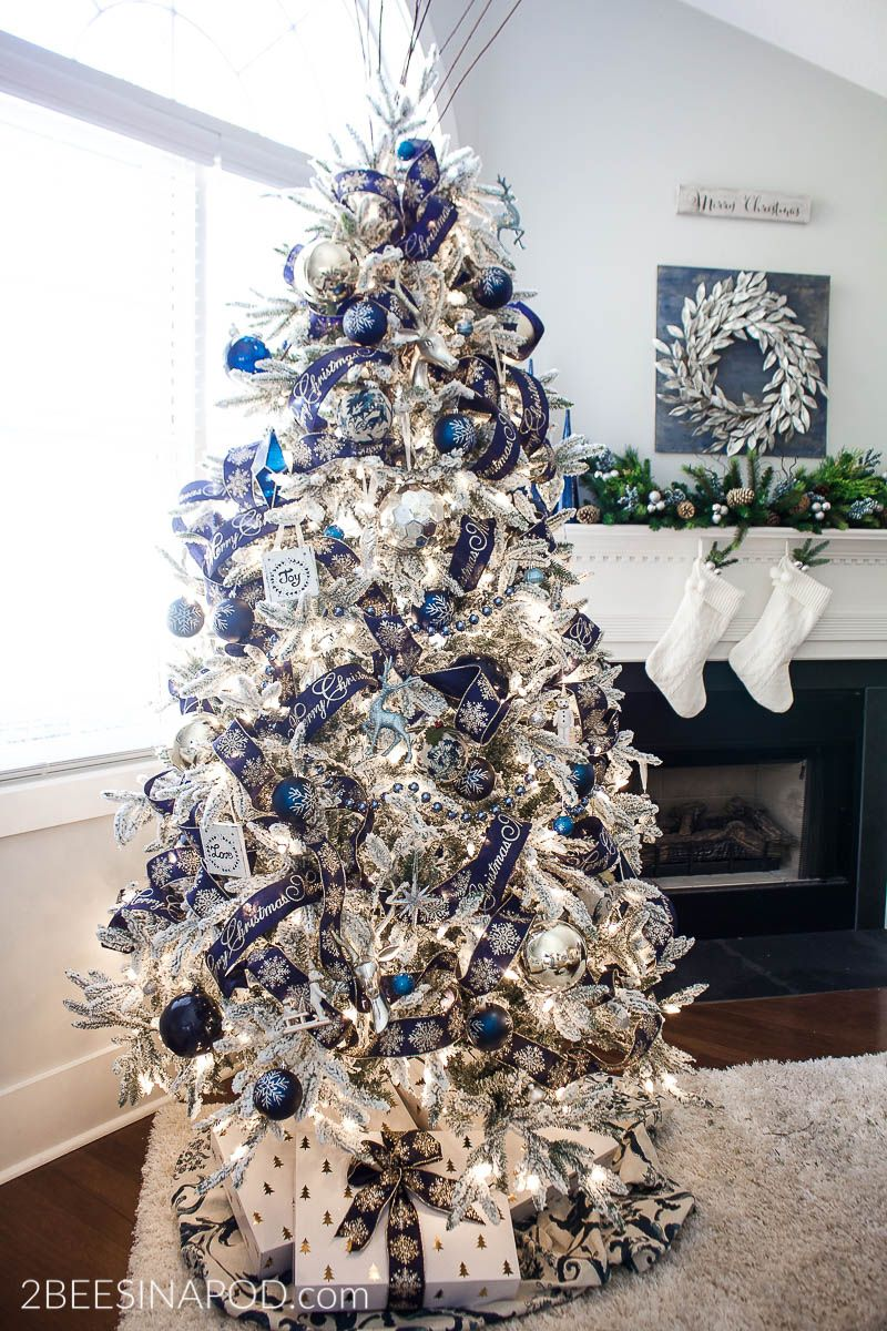 Blue And Silver Christmas Tree For The Living Room 2 Bees In A Pod Blue Christmas Decor Blue Christmas Tree Decorations Blue Christmas Tree