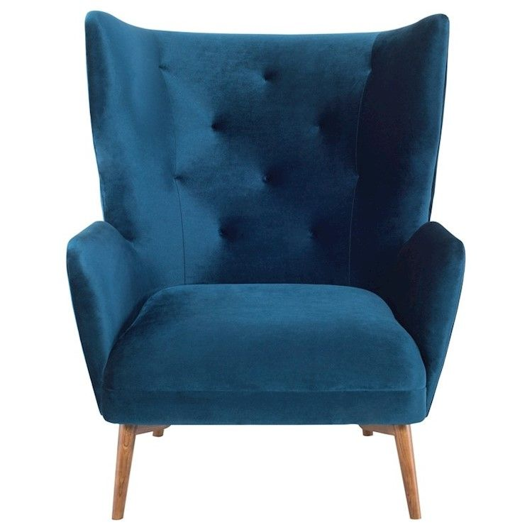 Klara Single Seat Sofa In Midnight Blue Fabric Seat Single Seat Sofa Fabric Seat Lounge Seating