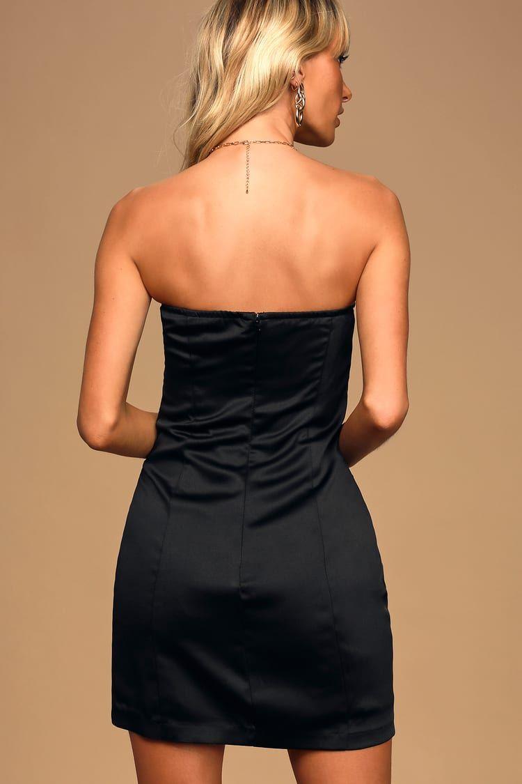 Dance Party Black Satin Strapless Mini Dress Chic Black Dress Strapless Mini Dress Mini Dress [ 1125 x 750 Pixel ]