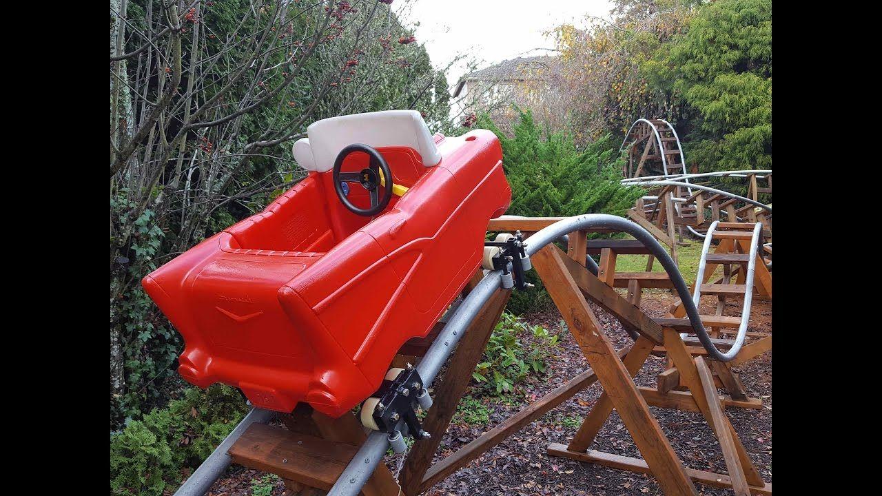 Red Racer Roller Coaster Kid Roller Coaster Homemade Roller Coaster Mini backyard roller coaster