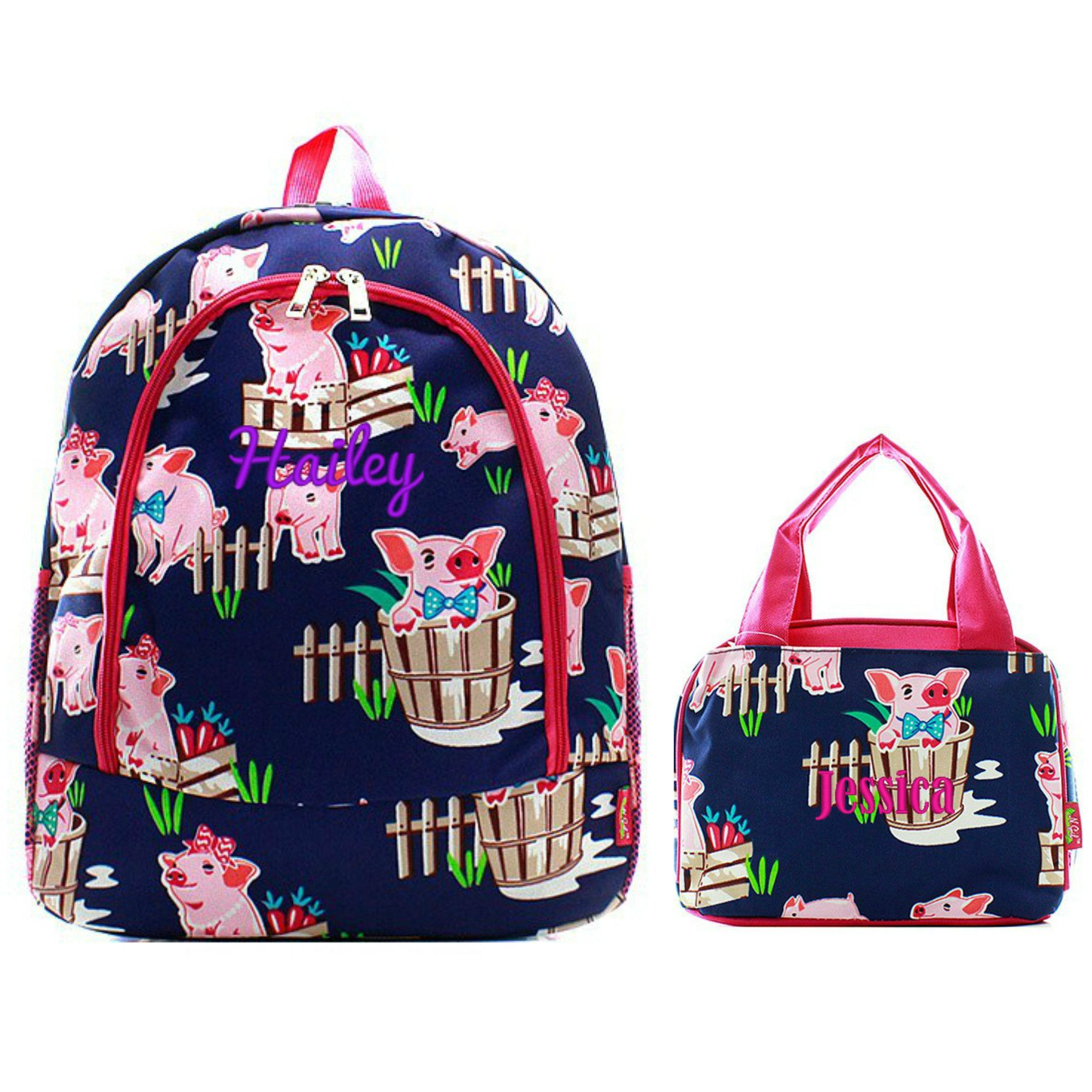 Matching Pig Pink Personalized Kids Backpack & Lunch Bag Set ...