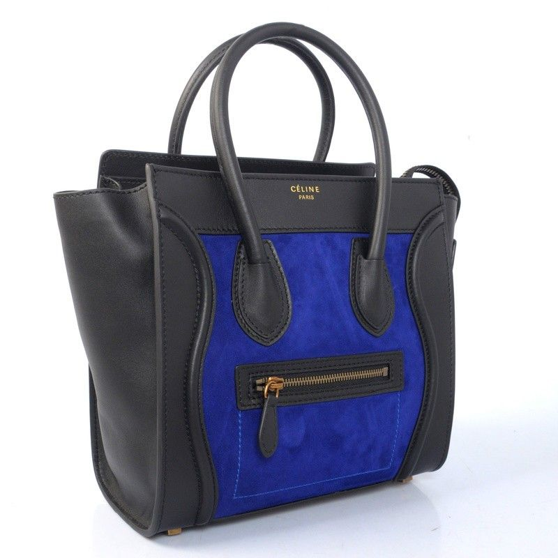 celine luggage black and blue