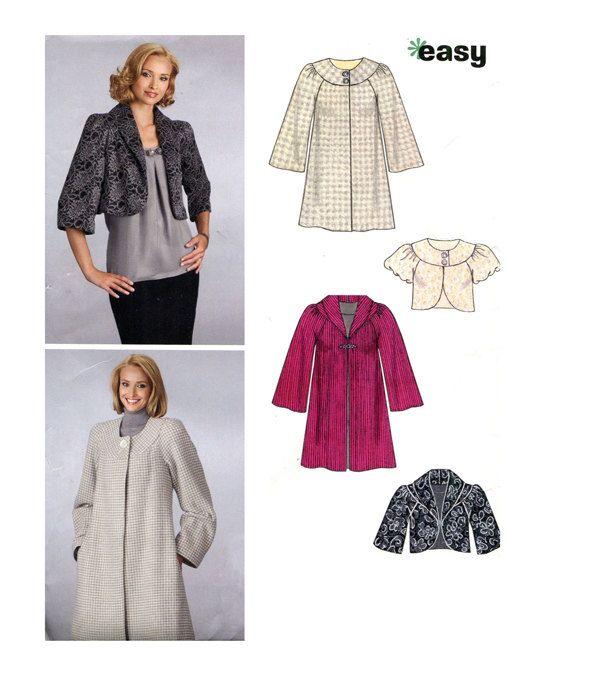 Womens Jacket Pattern Coat Pattern New Look 6832 Easy Collarless
