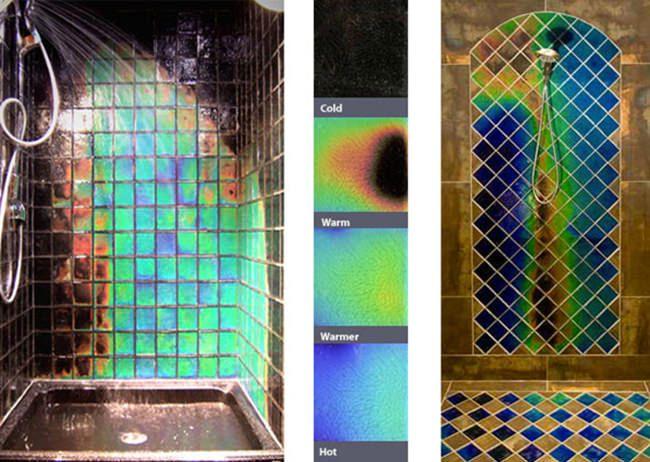 Heat Sensitive Shower Tiles Change Colours As It Warms Up Shower Tile Moving Color Tiles