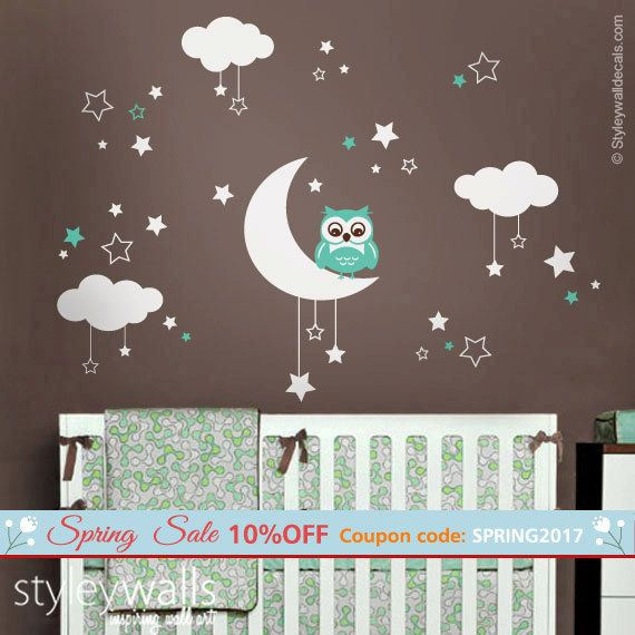 Owl Wall Decal Owl Moon Stars And Clouds Wall Decal Moon Etsy Nursery Wall Decals Cloud Wall Decal Star Wall Decals