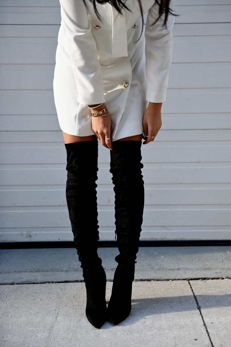 22b6c088bda white blazer dress thigh high black boots not your standard fashion blogger  kayla seah outfit streetstyle
