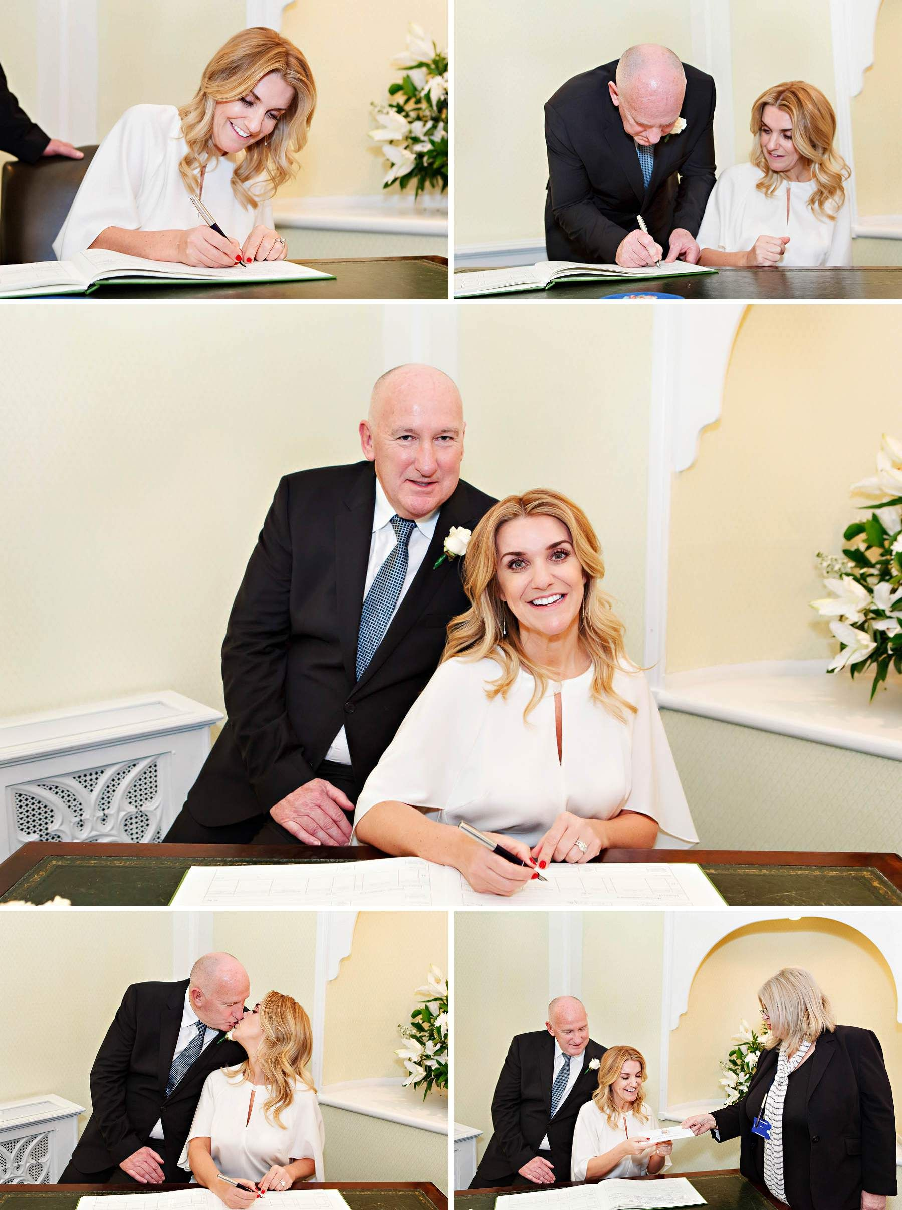 The Bride And Groom Sign Register During Their Civil Wedding Ceremony In Rossetti Room