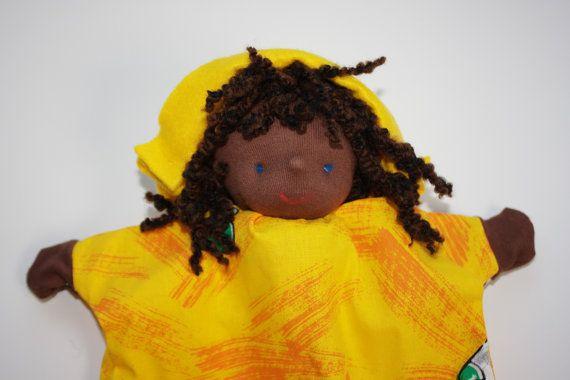Handpop zonnige man poppenkast pop speelgoed popje door atelierdymfy, €35,00