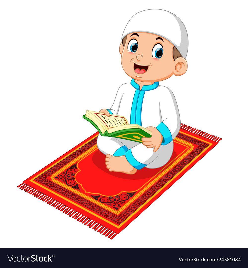 Muslim boy reading holy quran vector image on kartun