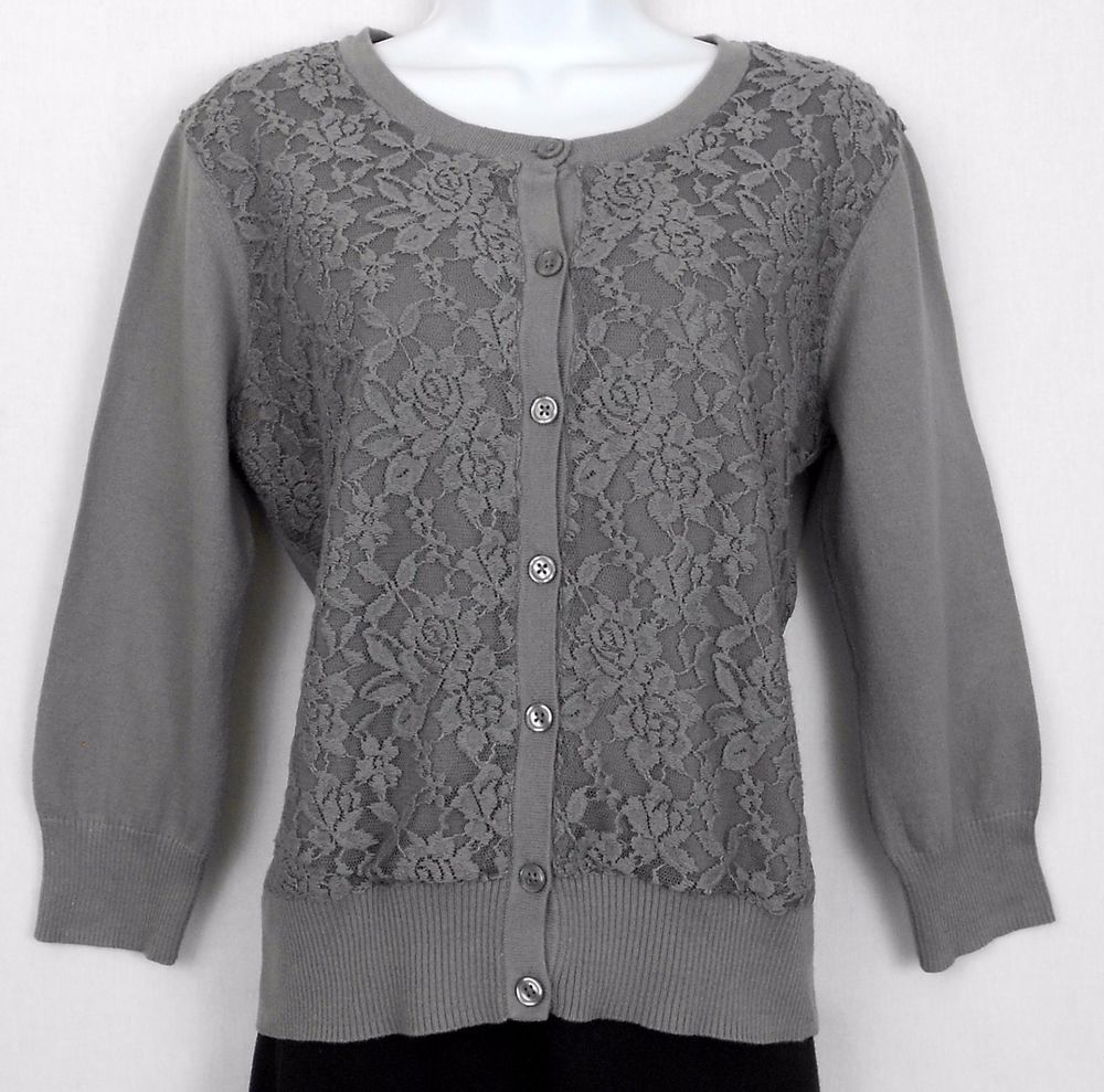 Van Heusen Studio Size M Gray Cotton with Lace Overlay 3/4 Sleeve ...