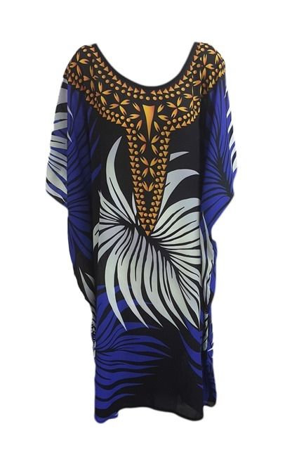 Lulu Kaftan -Relax fitting kaftan featuring maxi leaf print and round neckline complimented with a border print.